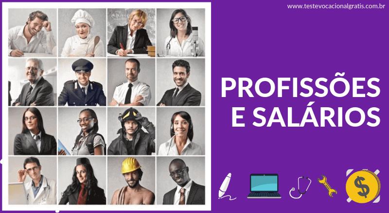 Tipos de profissões e salários